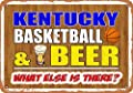 Wall-Color 10 x 14 Metal Sign - Kentucky Basketball and Beer - Vintage Look