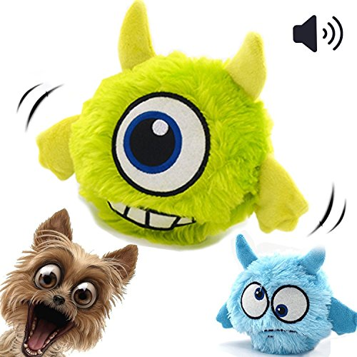 Dog Toy Ball Automatic Interactive Plush Squeaky Electronic Motion Shake Crazy Bouncer for Small to Medium Doggie - Buy One Get One