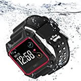 Compatible Fitbit Ionic Bands, iiteeology Breathable Shockproof TPU Protective Frame Case with Strap Band for Fitbit Ionic Smart Fitness Watch Accessory (Red)