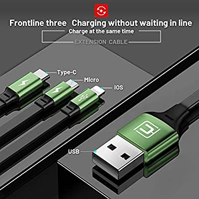 CAFELE USB Charging Cable 3 in 1 Fast Charger Cord Connector for Phone/Type C/Micro USB Port Retractable Power Adapter,Data Transfer 3A Compatible for Tablets/Samsung/Google Pixel and More-4FT Green