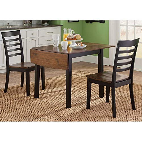 BOWERY HILL Drop Leaf Dining Table in Black and Cherry by BOWERY HILL