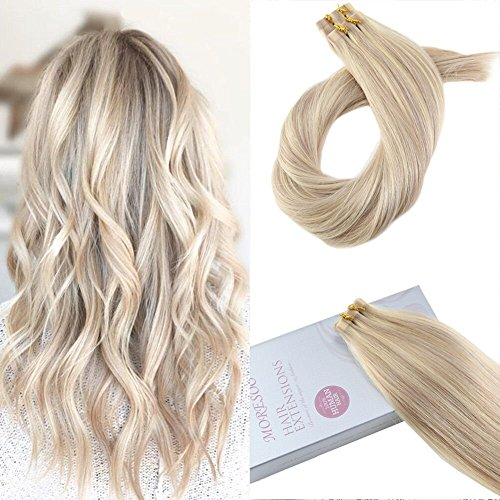 Moresoo 14 Inch Tape in Hair Extensions 100% Remy Human Soft and Thick Invisible Glue in Hair Color #18 Ash Blonde Highlighted with #613 Blonde Remy Hair 100g/40pcs Tape on Extensions