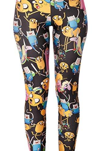 Bigood Collants Femme Leggings Pantalon de Crayon Stretch Dessin Animé Noir