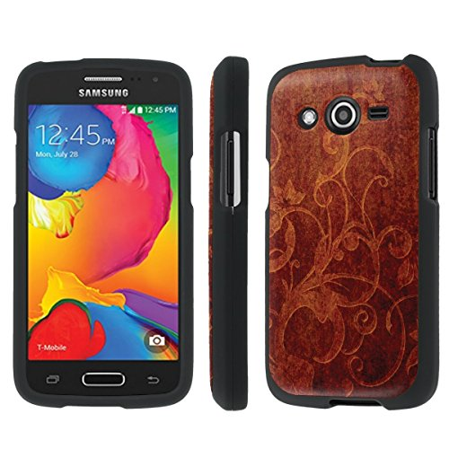 NakedShield Samsung Galaxy Avant G386 (Carved Wood) Total Hard Armor LifeStyle Black Phone Case