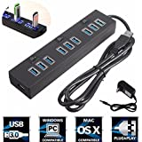 M.Way 10 Port USB 3.0 Hub High-Speed Data Transfer Ports Splitter 2A Power Adapter with On/Off Switches and LEDs USB Data Cable For Macbook Pro Laptop, iPhone 6s, 6s Plus, iPad, Samsung and More