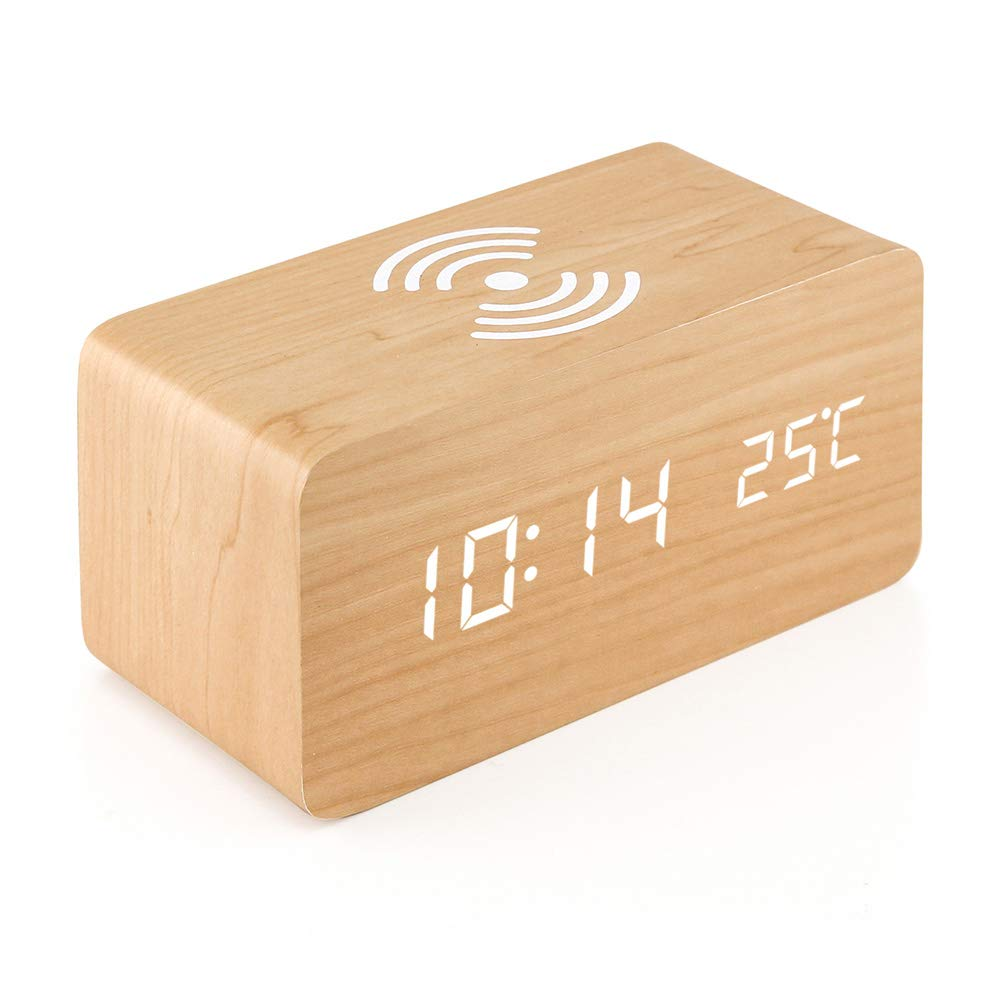 Oct17 Wooden Alarm Clock with Qi Wireless Charging Pad for iPhone Samsung, Wood LED Digital Clock with Sound Control Function, Time Date, Temperature Display for Bedroom Office Home - Wood
