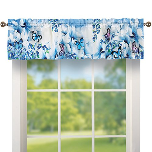 Collections Etc Blue Butterfly Floral Garden Rod Pocket Window Curtain Valance