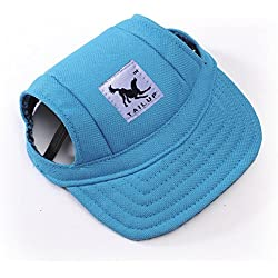 Happy Hours - Fashion Small Pet Dog Cat Baseball Visor Sports Hat Cap Puppy Summer Baseball Outdoor Ear Holes Sunbonnet Outfit Elastic Leather Neck Strap 6 Colors 2 Sizes Available (Blue, Size S)