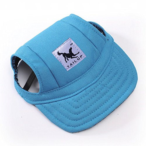 Happy Hours - Fashion Small Pet Dog Cat Baseball Visor Sports Hat Cap Puppy Summer Baseball Outdoor Ear Holes Sunbonnet Outfit Elastic Leather Neck Strap 6 Colors 2 Sizes Available (Blue, Size S) - Leather Dog Cap