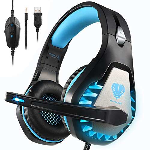 Pacrate Gaming Headset for Xbox One, PS4, PC, Mac, Nintendo, Laptop with Noise Cancelling Mic - 7.1 Surround Gaming Headphones - Soft Memory Over Ear PS4 Headset with LED Light for Child, Men, Women