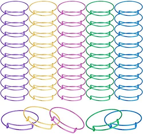 SAYAYA 50 Pieces Expandable Bangle Blank Bangle Bracelets Adjustable Bracelets for Jewelry Making (Colorful)