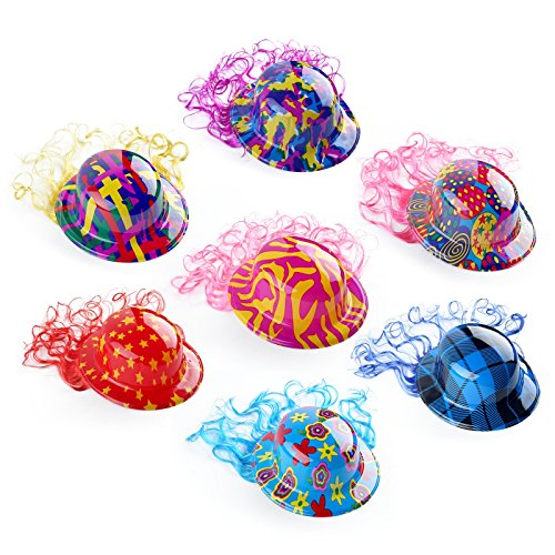 [12pcs Children Party Round Hats Costume with wigs-Holiday by Pparty Unicolor] (Crazy Christmas Hats)
