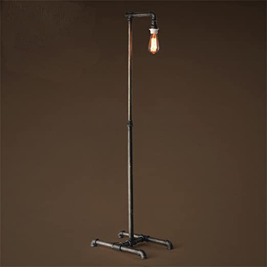 TOYM UK Industrial Pipe Floor Lamp Retro Decorative Wrought Iron Living Room