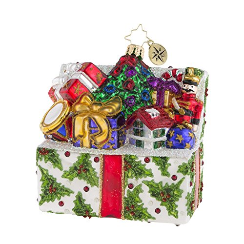 Radko Presents - Christopher Radko Holly Holiday Helping Box Filled With Presents Themed Glass Ornament