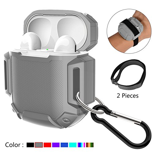 Shock Resistant Case Protective Silicone Cover Running Design with Hard Sleeve and Keychain for Charging Compatible Apple AirPods(Grey)