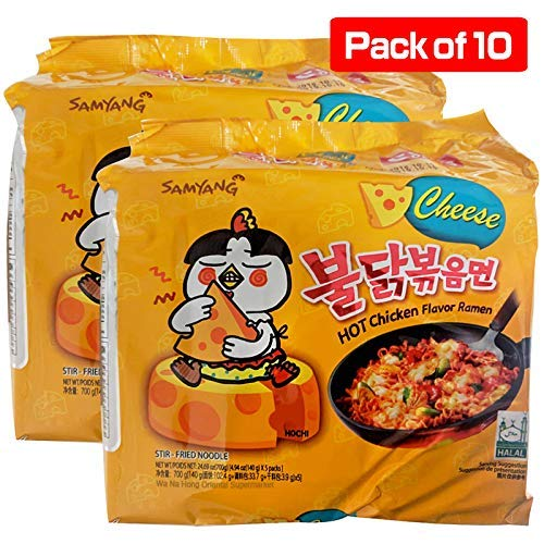 (Fusion Select 2016 new Samyang Ramen / Spicy Chicken Roasted Stir Buldak Noodles Cheese Flavor, 4.93 oz (Pack of 10))