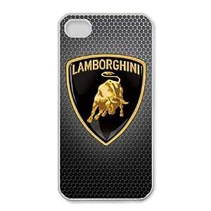 Lamborghini logo_001 iphone 4 4s Cell Phone Case White Protective Cover