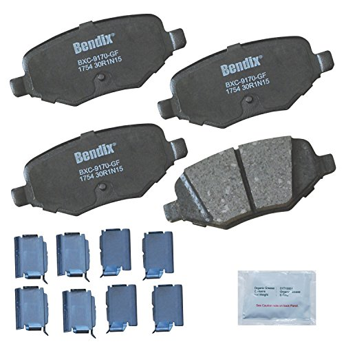 Ford Taurus Bendix Brake - Bendix Premium Copper Free CFC1754 Premium Copper Free Ceramic Brake Pad (with Installation Hardware Rear)