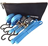 Tie Down Straps Ratchet Straps - Extreme 733lb Load Cap - 2200lb Break Strength. Davstrom Pro-Pack 2 x 15ft + Soft Loops + Bonus Tool Bag. Super Safe for Motorbike Kayak Camping Moving. Great Gift