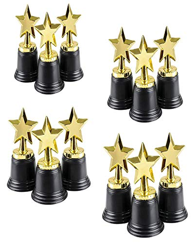4Es Novelty Gold Award 4.5 Star Trophy, Bulk (12 Pack), Golden Plastic Trophies for Kids, Students, Workmates, & Adults, Great Party Favor, Parties Supplies