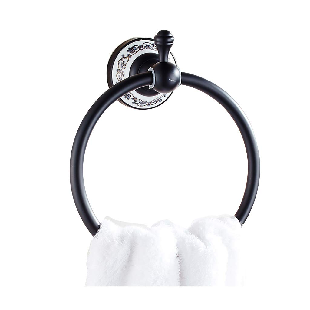 Bath Towel Ring Holder Bathroom Hand Towel Rack Kitchen Shelf Organizer Round Ring Stainless Steel Bath Hand Towel Holder (Color : B)