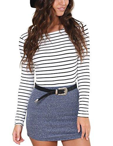 - Just Quella Women's Long Sleeve Stripe Sheath Shirt 6341 (L, White)