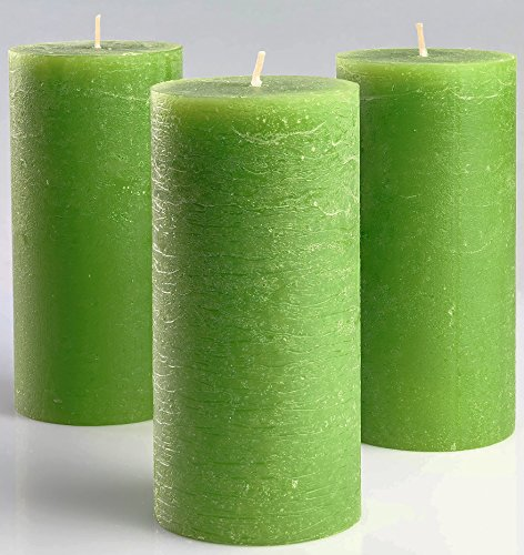 Set of 3 Green Pillar Candles 3 x 6 - Unscented Fragrance-Free Candles for Weddings, Decoration, Restaurant, Spa, Church - Smokeless & Dripless by Melt Candle Company
