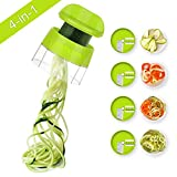 Sedhoom 4 in 1 Handheld Spiralizer Vegetable Slicer, Vegetable Spiralizer, Zucchini Spaghetti Maker, Zoodle Maker, Zucchini Spiralizer, Zucchini Noodle Maker