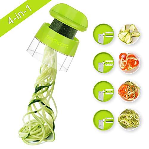 Sedhoom 4 in 1 Handheld Spiralizer Vegetable Slicer, Vegetable Spiralizer, Vegetable Slicer, Zucchini Spaghetti Maker, Zoodle Maker