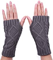 HDE Women's Fingerless Gloves Crochet Cable Knit Wrist, Hand, and Arm War
