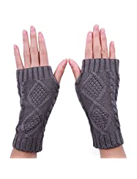 HDE Women's Fingerless Gloves Crochet Cable Knit Wrist, Hand, and Arm Warmers