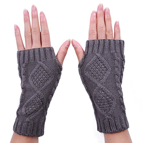 Hde Womens Fingerless Gloves Crochet Cable Knit Wrist  Hand  And Arm Warmers