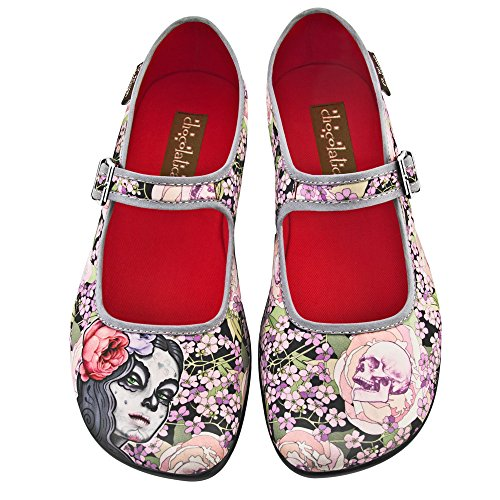 Hot Chocolate Design Chocolaticas Flora La Muerte Women's Mary Jane Flat Multicoloured HCD 41 by Hot Chocolate Design