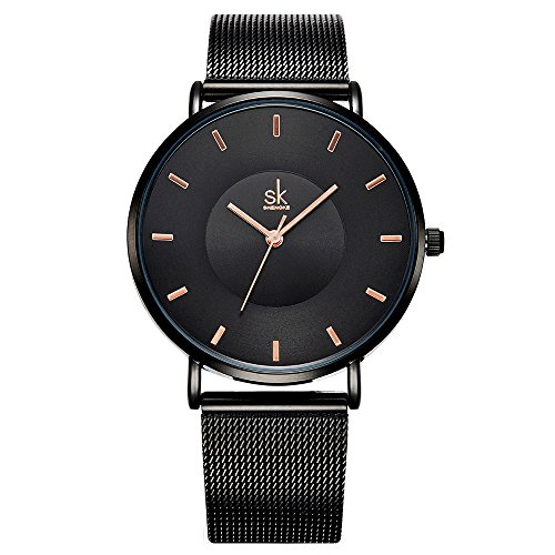 (SK Simple Watches on Sale Analog Mesh Watches for Women Stainless Steel Band reloj de Mujer (K0059-Black))