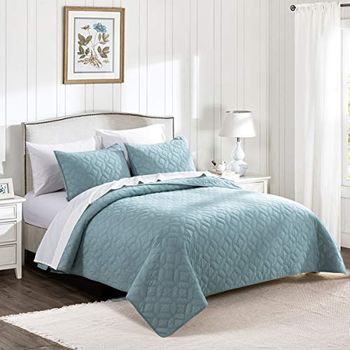 HeyDreamy Cotton Voile Lightweight 3 Piece Quilt Set Ultra Soft Garment Wash Coverlet Set Solid Diamond Stitched Bedspread Geometric Pattern with Cotton Fill for All Season (Turquoise,King) ()