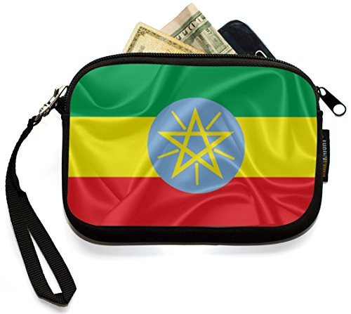 Review Rikki Knight Ethiopia Flag – Neoprene Clutch Wristlet Coin Purse with Safety Closure – Ideal case for Cosmetics Case, Camera Case, Cell Phones, Passport, etc..