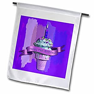 Beverly Turner Birthday Design - Happy 79th Birthday, Strawberry Ice Cream Cone on Abstract, Purple - 18 x 27 inch Garden Flag (fl_43640_2)