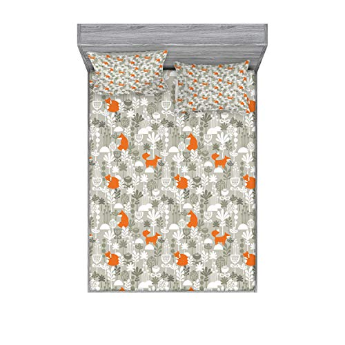 Ambesonne Fox Fitted Sheet & Pillow Sham Set, Fox in The Winter Forest Abstract Cartoon Trees and Nature Animal Pattern, Decorative Printed 3 Piece Bedding Decor Set, Queen, Green Orange