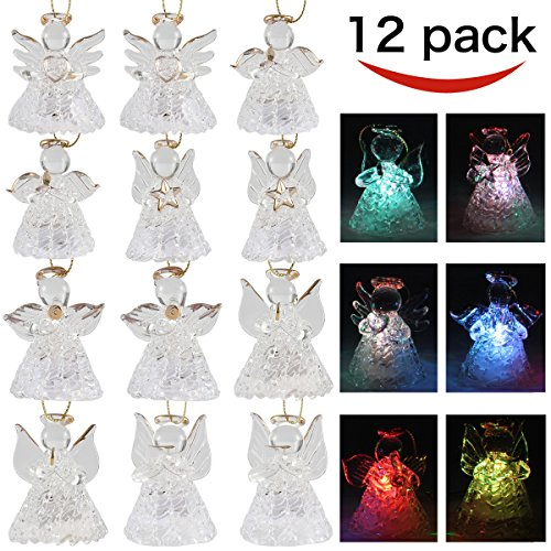 Angels Ornaments (set of 12 Spun Glass Angel Ornaments with LED lights for Chirstmas Tree Decorations by Joiedomi)