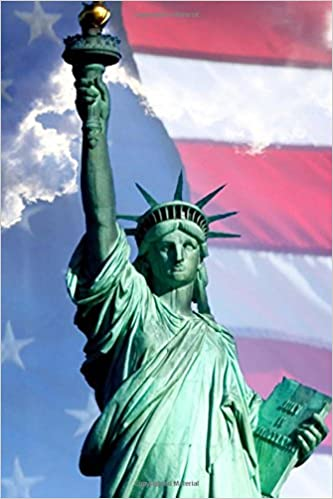 Journal Lady Liberty Usa Flag Sky Clouds Background Statue