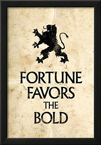Fortune Favors the Bold Motivational Latin Proverb Poster Framed
