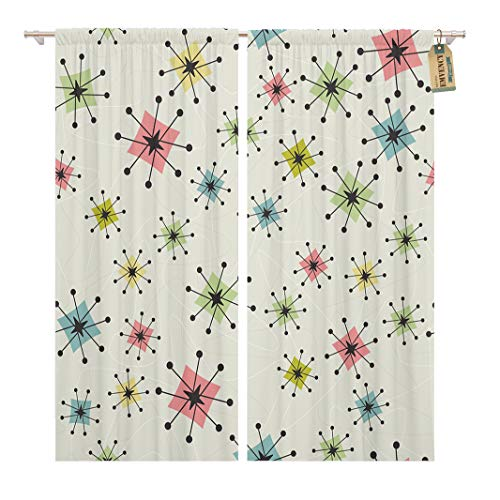 Golee Window Curtain Vintage Atomic Stars Retro Pattern on of Boomerangs are Home Decor Rod Pocket Drapes 2 Panels Curtain 104 x 63 inches