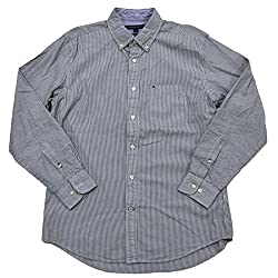 Tommy Hilfiger Mens Striped Long Sleeve Button Down Shirt, Navy, Small