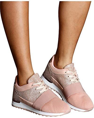 D Signature Womens Lana Glitter Low Top Fashion Sneaker,Pink,8.5