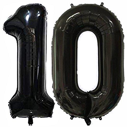 Black Number 10 Balloon, 40