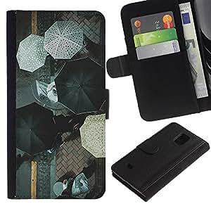 WINCASE (No Para S5) Cuadro Funda Voltear Cuero Ranura Tarjetas TPU Carcasas Protectora Cover Case Para Samsung Galaxy S5 Mini, SM-G800 - olas wallpaper mar viñeta
