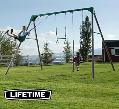 Metal Swing Set 10 ft. with 2 Belt Swings and Trapeze Bar, Earth Tone Brown Finish (Wooden Swing Sets For Sale)