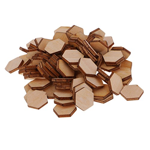 MagiDeal 50/100/200 Pieces Hexagon Shapes MDF Cutouts Wood Wooden Embellishments - Scrapbooking Shapes for DIY Craft Decoration Buttons - Multi Size to Choose - 200pcs 8mm