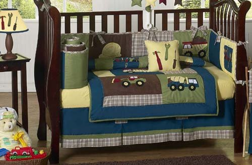 amazoncom sweet jojo designs 9 piece construction zone blue baby boy truck bedding crib set baby - Baby Boy Crib Bedding