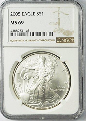 2005 Silver Eagle Fine Silver American Eagle AZA10 $1 MS-69 NGC MS